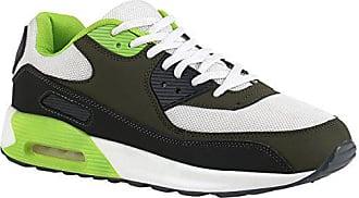 Profilsohle Lauf Sneakers Herren Flandell Stiefelparadies 140153 Grün Trainers Leder Runners 42 Sport Materialmix Schuhe Sneaker optik Weiss Stoff 7yf6bg