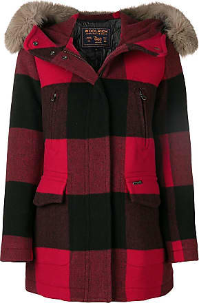 Trimmed Rouge Fur Hooded Woolrich Coat Checked SBqBwA