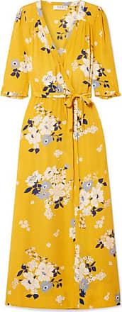 York New En Imprimé Crêpe à Portefeuille Chine PiaJaune Robe Sea Fleuri De srthQCd