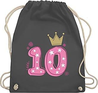 Krone 10 Gym amp; Turnbeutel Shirtracer Kind Wm110 Bag Sterne Dunkelgrau Unisize Geburtstag Mädchen EpAIRw