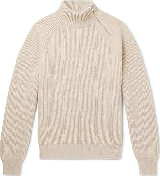 detailed Connolly Ribbed neck Beige Mock Sweater Cashmere Zip 5qqfw6npA