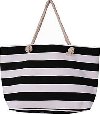 Tote Strand Laidaye Shopping Fashion Damen black Streifen onesize Handtasche Canvas Umhängetasche qXtnxwXar