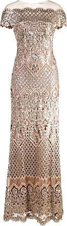 SequinsMétallisé Shoji Longue Tadashi Robe Broderies à De Yfgy7bv6