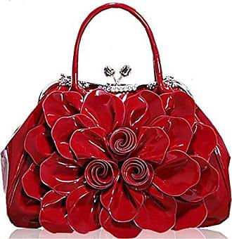 Bfmei onesize Blume Lackleder Handtasche Handtasche red Mode Pendler Strass Meile mv0N8nw