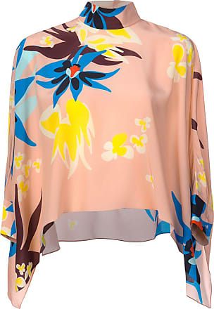 Print Floral Delpozo Blouse Flared Rose 86q4w