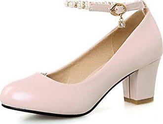 Agoolar Material Damen Absatz Pumps Schnalle Mittler Weiches Zehe Pink Rein Schuhe 33 Rund RqO4RWn