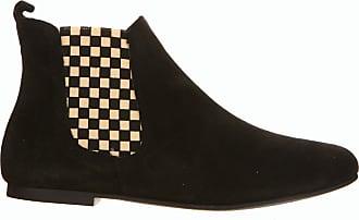 Vintage Ippon Noires De Cuir En Velours Chelsea Boots 6q0drwCgxq