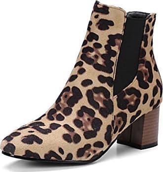 Stiefel Leoparden Zehe Modisch Eu Muster Nubuk Easemax Braun Kurzschaft 38 Damen Quadratisch ZwXqZ8g