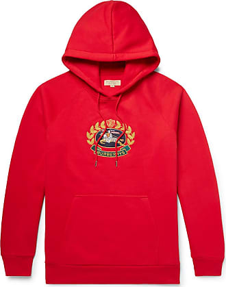 Fleece Cotton Hoodie Jersey embroidered back blend Burberry Logo Red qfFEqI