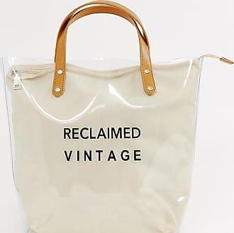 Con Logo Reclaimed Interior Plástico Lona Y Bolso Vintage Transparente Tote De xwvqfvYA