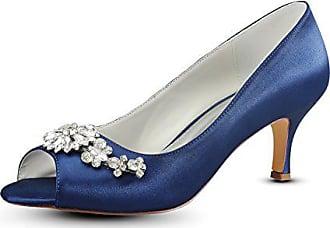 Strass Gast Blau Hochzeit Bridalwear Emily Toe Heel Navy eu40 Schuhe Blue Deep Peep Seide Mutter Kätzchen TYqFx7f