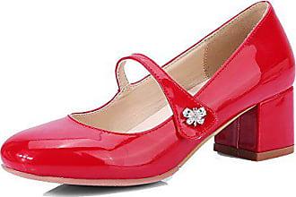 Pumps Auf Allhqfashion Zehe Mittler Quadratisch 42 Schuhe Blend Absatz Ziehen Damen materialien Rot XIwqr8xCzI