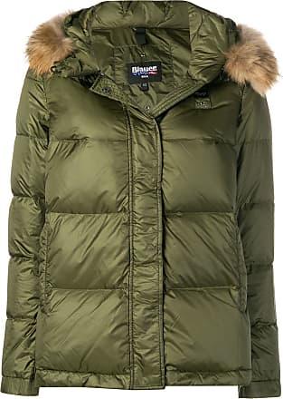Puffer Blauer Trim Noir Hood Jacket Fur AS4Fnaw