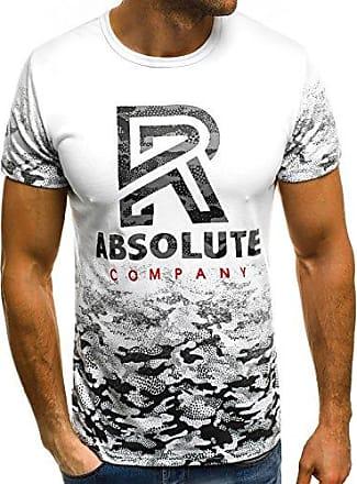 fit ss242 T Ozonee Slim Figurbetont Weiß Mix M Herren Shirt Js shirt Rundhals Motiv Aufdruck Kurzarm WIE9Y2DH