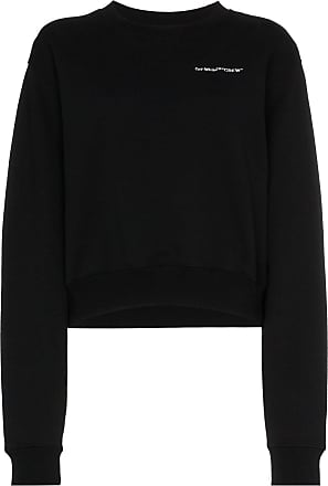 Crop Off Crew Sweat Noir white rPqwE1r