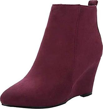 Keilabsatz Aiyoumei Damen Boots Absatz Wildleder Bequem Keilstiefel Mit Warm Ankle Stiefeletten Wedge Winter 8cm POnwk80
