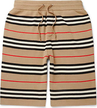 Shorts Striped Burberry Camel Merino Wool Drawstring aqIxnP6Y