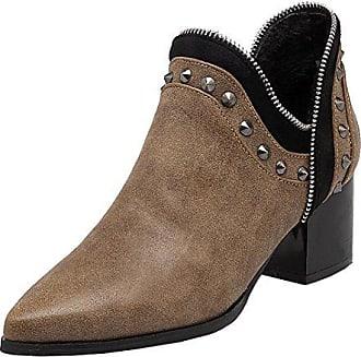 Zehen Stiefeletten 5cm Damen Modern Heel Mit Aiyoumei Chunky Absatz Spitz Nieten Und Blockabsatz Schuhe YgybIf7v6