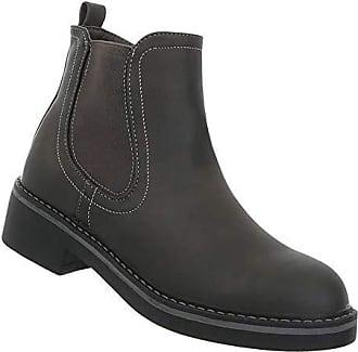 Schuhcity24 Stiefeletten Stretch Schuhe Stiefel Halbschaft Flache Kurzschaft Grau Chelsea Boots 37 Damen xSxwHrf