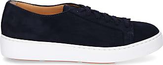 Santoni Sneaker 53858 Blau Veloursleder Low rrEwqd