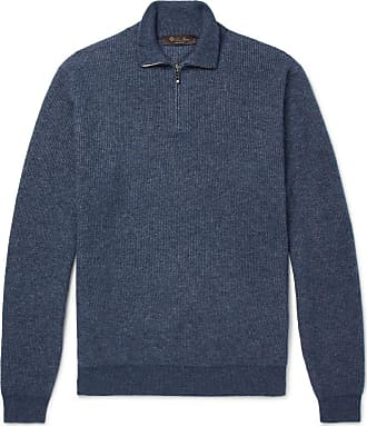 zip Loro Half Piana blend SweaterBlue Silk Cashmere And Mélange g6b7vYfy