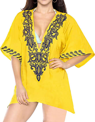 48ff1cce1d95 Boho Gul La Plus Broderet Kaftan Poncho Badetøj Casual Tunika Loving Rayon  Damer Cover Kimono Up Soft Strandtøj ...