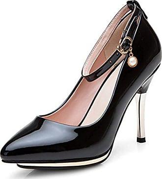 Heels Schuhe High Damen Pumps Lackleder 37 Knöchelriemchen Spitze Strass Schwarz Easemax Plateau Eu WHqYWa4