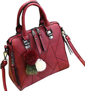Wein Frauen Rot Handtasche Bag Tasche Umhängetasche Elegant Baymate Pu Messenger Gedruckt Leder 1RvWTq