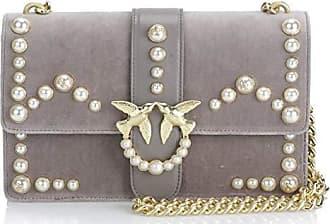 Perla grigio 8x15x27 Centimeters Velluto Schultertasche Tracolla perle Pearls Love Velvet Damen Grau Pinko wvgH11