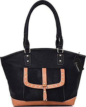Kukubird Handbag handle Shoulder Leather Berdine Brown Strap Tote Trimming High Quality Black Design Faux Top HSHORr1q