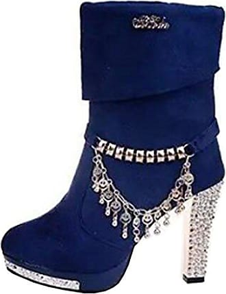 Runde Damen Stiletto Binying Eu zehe Ohne Plateau 36 Verschluss Mashiaoyi Stiefel Metall Blau qtAapnwx