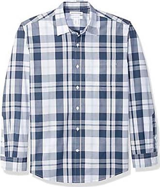 Essentials Regular Shirt Long Amazon Plaid White navy sleeve hemd Buttondown Large fit wgq5S