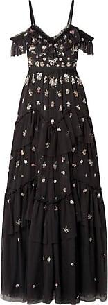 Nues Robe Noir Needle Ornements Lustre En Tulle Épaules amp; Thread Du À Soir n6wqxf6