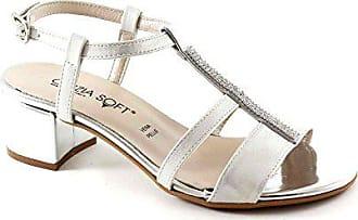 Cinzia Fersenriemen Strass 39 Weiß 68555 Frau Silberne Schuhe Soft Sandalen rr18xqZ