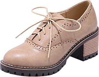 Schnurung Court Beige Size Bequeme Damen Blockabsatzs Zanpa Schuhe Asian 34 P80NwOnkX