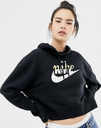 Cappuccio Logo Metallizzato Spacco Nike Felpa Con Nero E Corta Nera xISxP