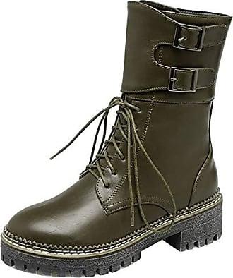 Chunky Heels Strap Stiefel Stiefeletten High Schnüren Outdoor Monk Casual Mid 34 Damen Top Zanpa Winterschuhe Gr Combat Green Wn6cSqf