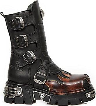 Heavy Damen Herren M Punk Leder New Rock 591x Schwarz Unisex Flammen s1 Gotisch Stiefel Ferse Feuer gnYqwOx