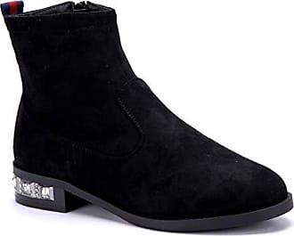 Schuhtempel24 Cm 3 Boots Damen Ziersteine Blockabsatz Schuhe Schwarz Stiefel Klassische Stiefeletten SfSqRrZvn