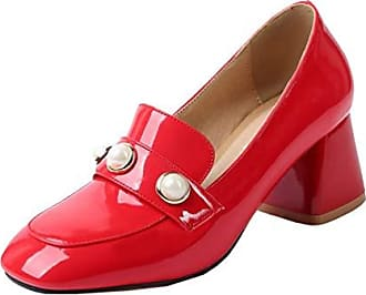 Perle Showhow Rot 37 Quadratisch Zehen Damen Elegant Pumps Eu Low Loafers Top PX08nwkON