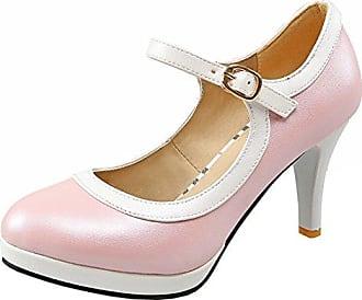 Damen Ankle Strap Blockabsatz Pumps mit Schnalle und Plateau High Heels Riemchen Elegant Schuhe Agodor MoKpRy4