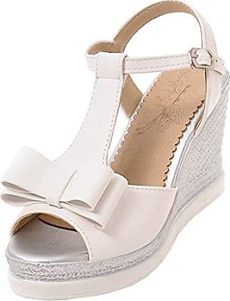 MEI&S Frauen Sandalen Dicke Unterseite Rutschfeste Chunky Keilabsatz Schuhe, Schwarz, 35 LSM-Sandalen