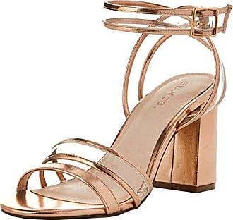 Bianco Transparent Open Shoe, Sandales Bride Cheville Femme, Or (Bronze 94), 39 EU