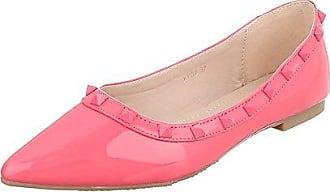 Ballerinas Damen-Schuhe Geschlossen Blockabsatz Blockabsatz Ballerinas Pink Rosa, Gr 40, Xy02 Ital-Design
