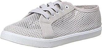 Damen Schuhe, 127, HALBSCHUHE, PERFORIERTE SCHNÜR FREIZEITSCHUHE, Synthetik und Textil, Grau, Gr 40 Ital-Design