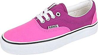 Damen Schuhe, YJ876001-1, Freizeitschuhe, Schnürer Sneakers, Textil, Pink Lila, Gr 36 Ital-Design