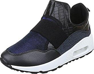 High-Top Sneaker Damen-Schuhe High-Top Keilabsatz/Wedge Sneakers Freizeitschuhe Dunkelblau, Gr 37, 6095-Y Ital-Design
