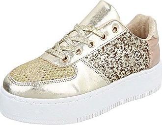 Low-Top Sneaker Damen-Schuhe Low-Top Sneakers Schnürsenkel Freizeitschuhe Gold, Gr 40, 89-99 Ital-Design