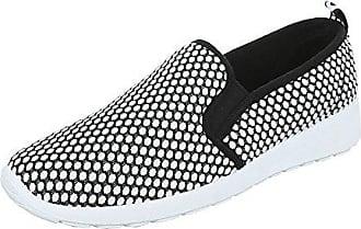 Slipper Damen-Schuhe Low-Top Stretch Halbschuhe Weiß Schwarz, Gr 38, Fy5002 Ital-Design