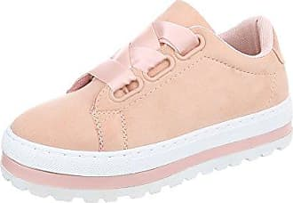Sneakers Low Damen-Schuhe Sneakers Low Sneakers Schnürsenkel Freizeitschuhe Pink, Gr 41, R-300 Ital-Design